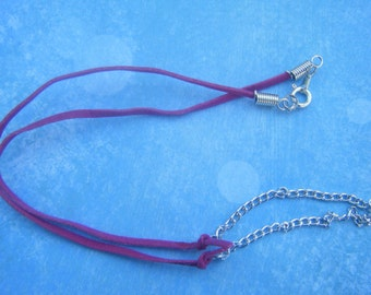 Pink Suede Cord and Chain Necklace