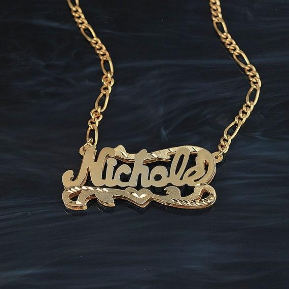 double plate diamond cut name necklace nichole. Black Bedroom Furniture Sets. Home Design Ideas