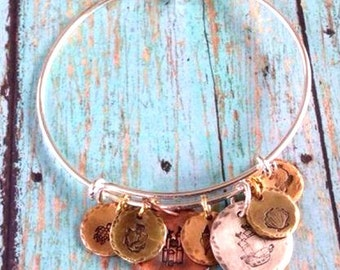 Silver expandable bracelet with Hand Stamped SeaShore Charms