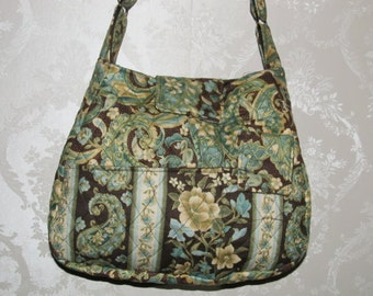 Handmade Quilted Purse,  Brown and blue Paisley with flowers, Handbag, Quilted handbag, 93&94A