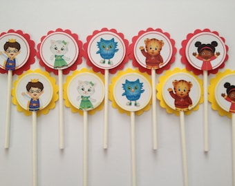 x24 Daniel Tiger's Neighborhood Inspired Cupcake Toppers