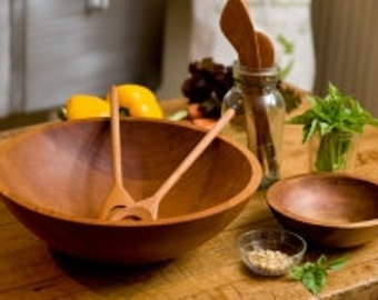 Large Deep Wooden Salad Bowl Feeds a Family of Four