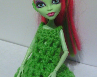 Hand Crocheted to fit a Monster High Doll (this is not a Mattel product), Clothes, Nightgown, Dress, Spring Green