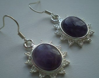 Amethyst (Natural) 925 Silver Plated French Wire Dangle Earrings