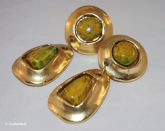 New Low Price! Vintage Jacky De G. Chunky Gold Tone With Tan and Green 'Stone' Clip Earrings (c.1980's), France, Designer Jewelry