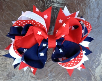 Patriotic bow , Red white and blue, Stars and Stripes headband 4th of july bow