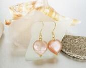 Drop Earring -Sunstone Earrings -Gemstone Jewelry - Caramel Puffy Heart Earring- Sunstone Drops -Sunstone Jewellery -Dangle Earring -Vermeil