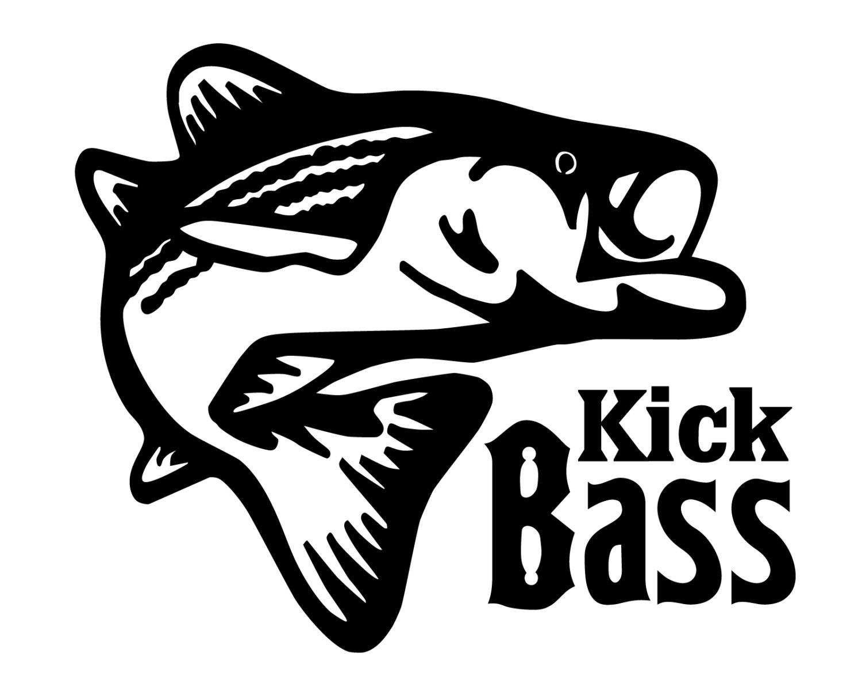 Bass fishing decal kick bass sticker bass fisherman decal for Bass fishing decals
