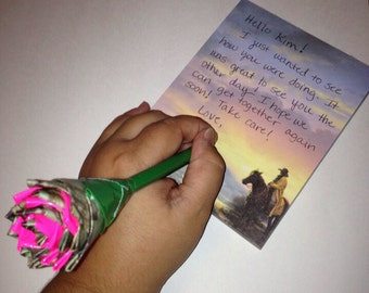 Pink and Camo Duck Tape Rose Pen Gift for Her