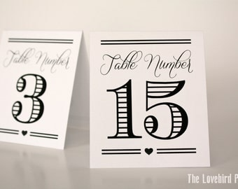 Printable Table Tent Numbers - Tent Fold Table Numbers - 11-20 - Table Tent -PDF - DIY - AA1