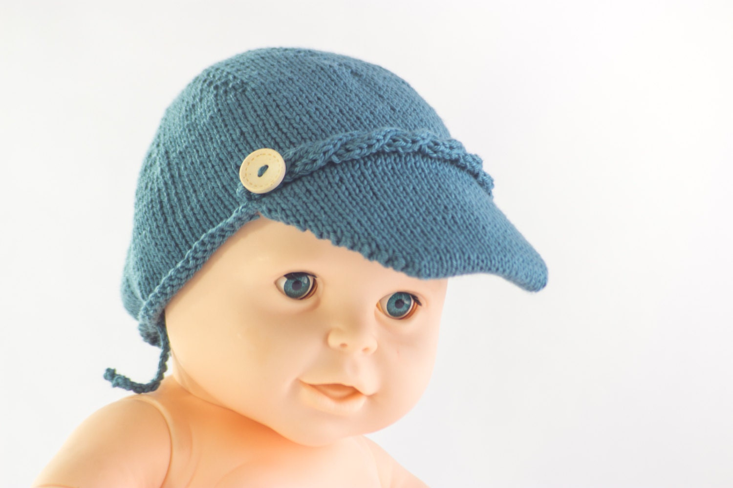 Knitting Pattern For Boys Hat : KNITTING PATTERN Boys Cap Brimmed Cap Baby Boy Hat Summer