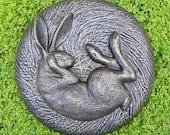 Sleeping Hare Garden Wall Plaque Bronze Effect - Indoor or Outdoor