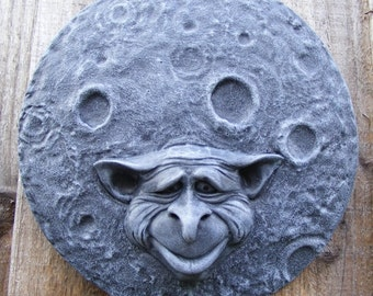 GOBLIN MOON Garden Wall Plaque Sculpture indoor / outdoor pagan