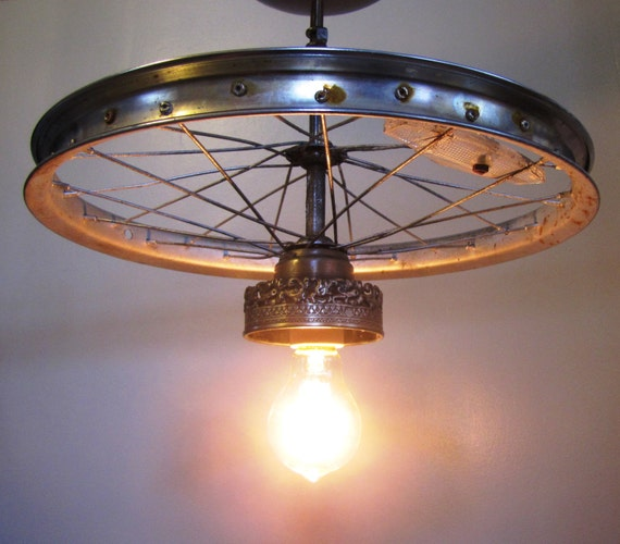 Hanging Industrial Ceiling Light Made From Repurposed Bike