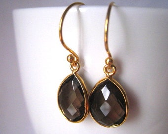 Smoky Quartz Earrings, Brown Gemstone Earrings
