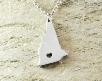 New hampshire Necklace alloy 925 sterling silver  heart necklace Pendant State Necklace State Charm Map necklace Map Jewelry