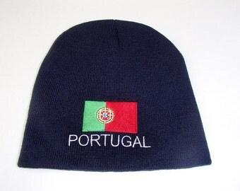 Portuguese Portugal Flag on Navy Blue Knit Hat