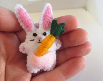 Rabbit with a Carrot - miniature felt bunny vegetable - Easter Softie