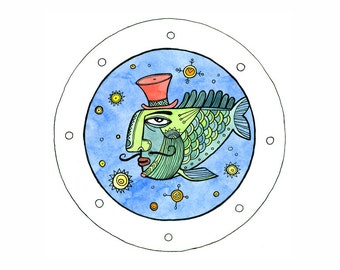 Artistic postcard - Uncle Fish / Fantasy postcard / Illustrated postcards