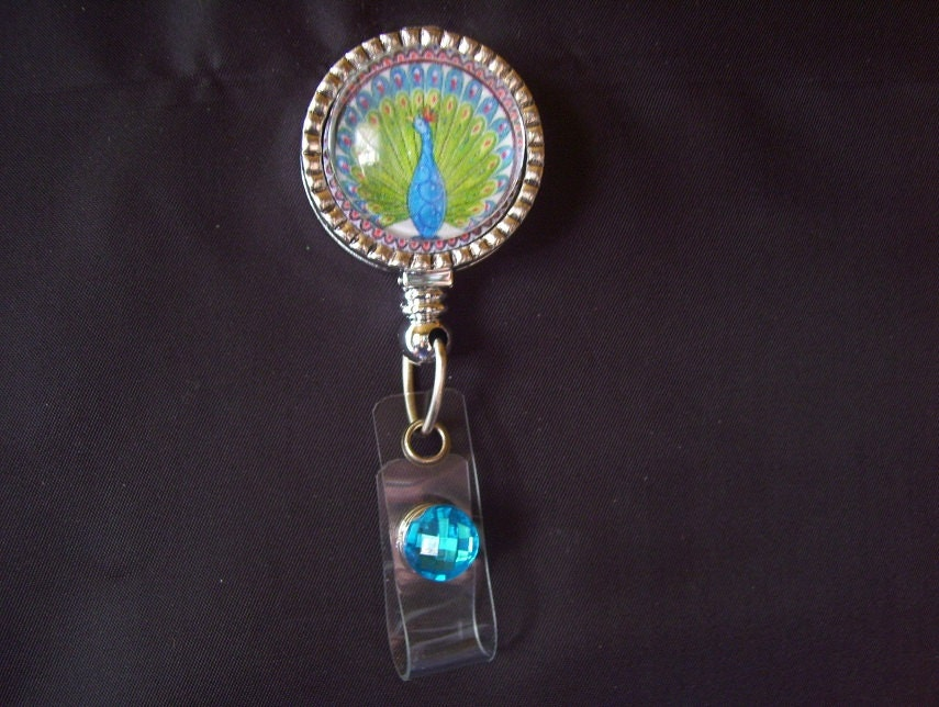 Peacock id holder repurposed jewelry peacock badge reel for Repurposed jewelry holder