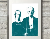 American Gothic Watercolor Style Printable Art  in Teal