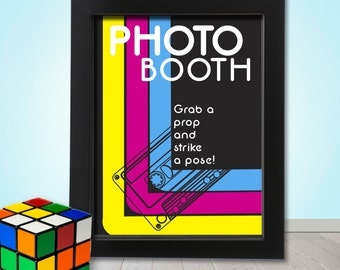 80's Photo booth Party Props Sign - PRINTABLE - 1980's Disco Photo Booth Prop Sign, A4 Size