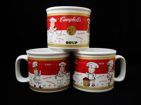 Set Of 3 Ceramic Campbell S Soup Side Handle Mugs By
