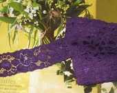 "10 yards 1 1/2"" width one side shimmery dark purple color scroll stretch lace trim for your fashion design decorative."