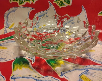 Vintage Fostoria American glass footed candy dish