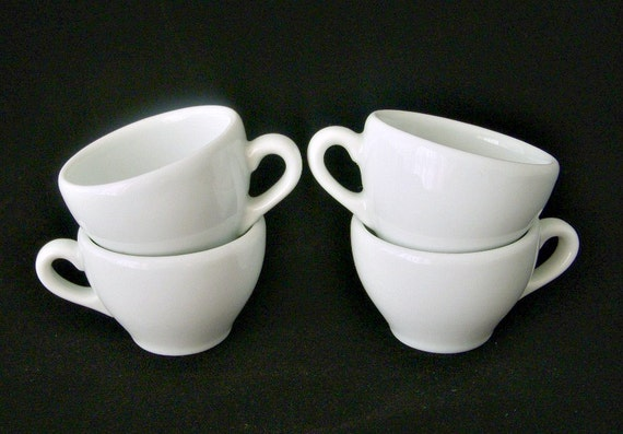 Apilco France Classic White Demitasse Espresso Cups Set Of 4