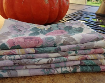 Set of 6 Floral Cloth Napkins, Rose Print, Shabby, Country Kitchen, Reusable Napkins