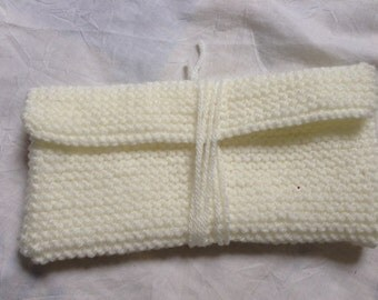 White Wallet, White Knit Case, Pencil Case, White Pencil Case, Knitted Pencil Case, Yarn Pencil Case, Wool Pencil Case, White Wool Case