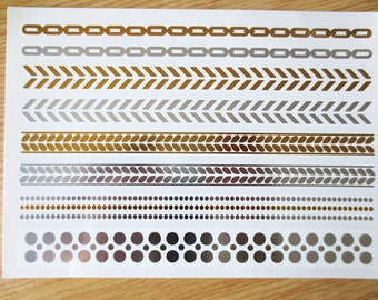 Gold and Silver Metallic Temporary Tattoo - Waterproof - Great for concerts, festivals, parties, beach, clubs, and more!
