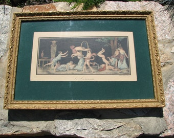 Greek Mythology Picture in Frame - Naughty Pan Picture - Le Gerceau - 1781  Year
