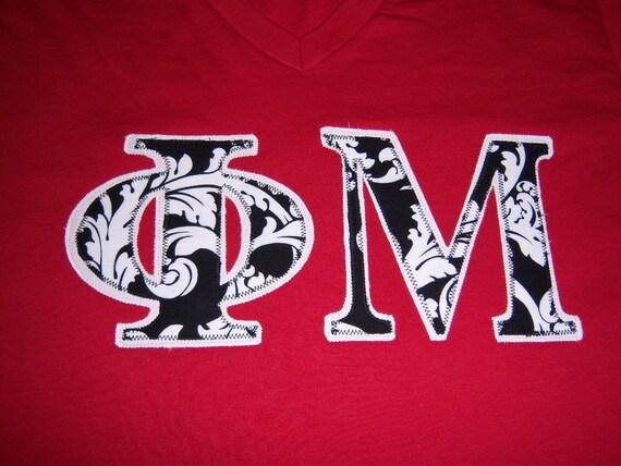 phi mu sorority stitch letter shirt sorority greek letter With phi mu stitched letters