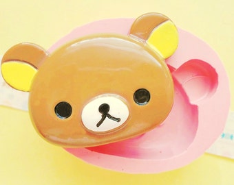 60mm Brown Bear Face Flexible Silicone Mold -  Decoden Kawaii Sweets Resin Fimo Polymer Clay Sculpey Wax