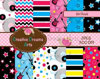 40% Off! Girl Rock Digital Paper Pack Instant Download