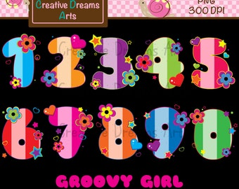 40% Off! Groovy Girl Clipart Instant Download
