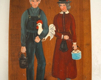 "Antique Painted Wood Wall Sign Plaque of a Woman and a Man marked ""SATURDAY NIGHT TRADERS"""