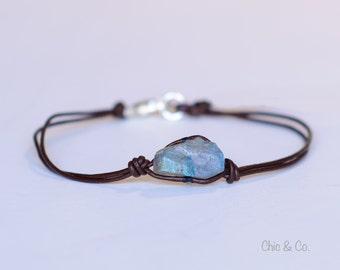 Labradorite Nugget and Leather Bracelet