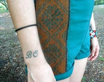 SALE** Tribal High Waisted Zip Back Gypsy Aqua Shorts Festival Upcycled