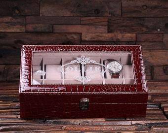 Watch Box  for Men Burgundy Chrocodile Personalized Christmas, Anniversary, Father's Day, Birthday, Graduation Gift