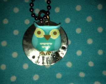 Custom Hand Stamped Lil Sis with Owl Necklace