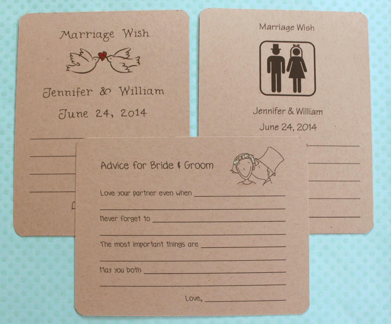 Whimsical Fun Bridal Shower Wedding Advice Wish Cards Bride
