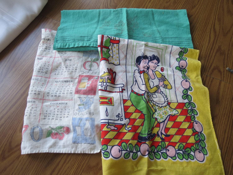 On Sale 1950s 1070s Vintage Kitchen Towels