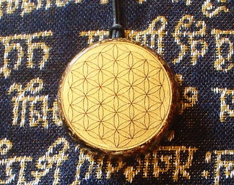 Flower of life Orgonite® Shungite pendant aura protect Orgone energy generator