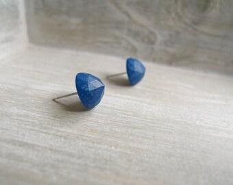 Cone stud earrings, Stainless steel posts, Geometric studs, deep blue studs