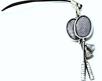 Badminton Rackets Bag / Phone Charm in English Pewter, Handmade (tsh)
