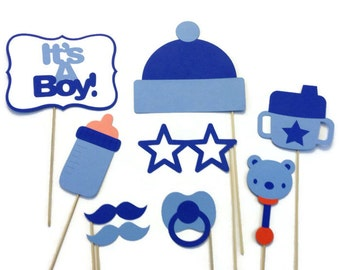 Boy Baby Shower Photo Booth - 9 Piece Photo Booth Prop Set