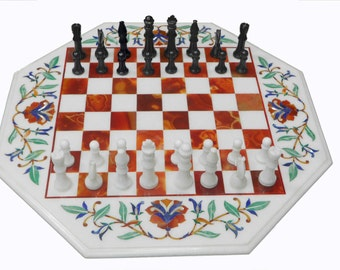Chess board Marble Inlay coffee table
